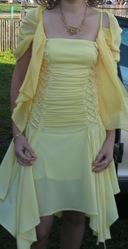 Желтое шифоновое платье,  в подарок шаль!!!